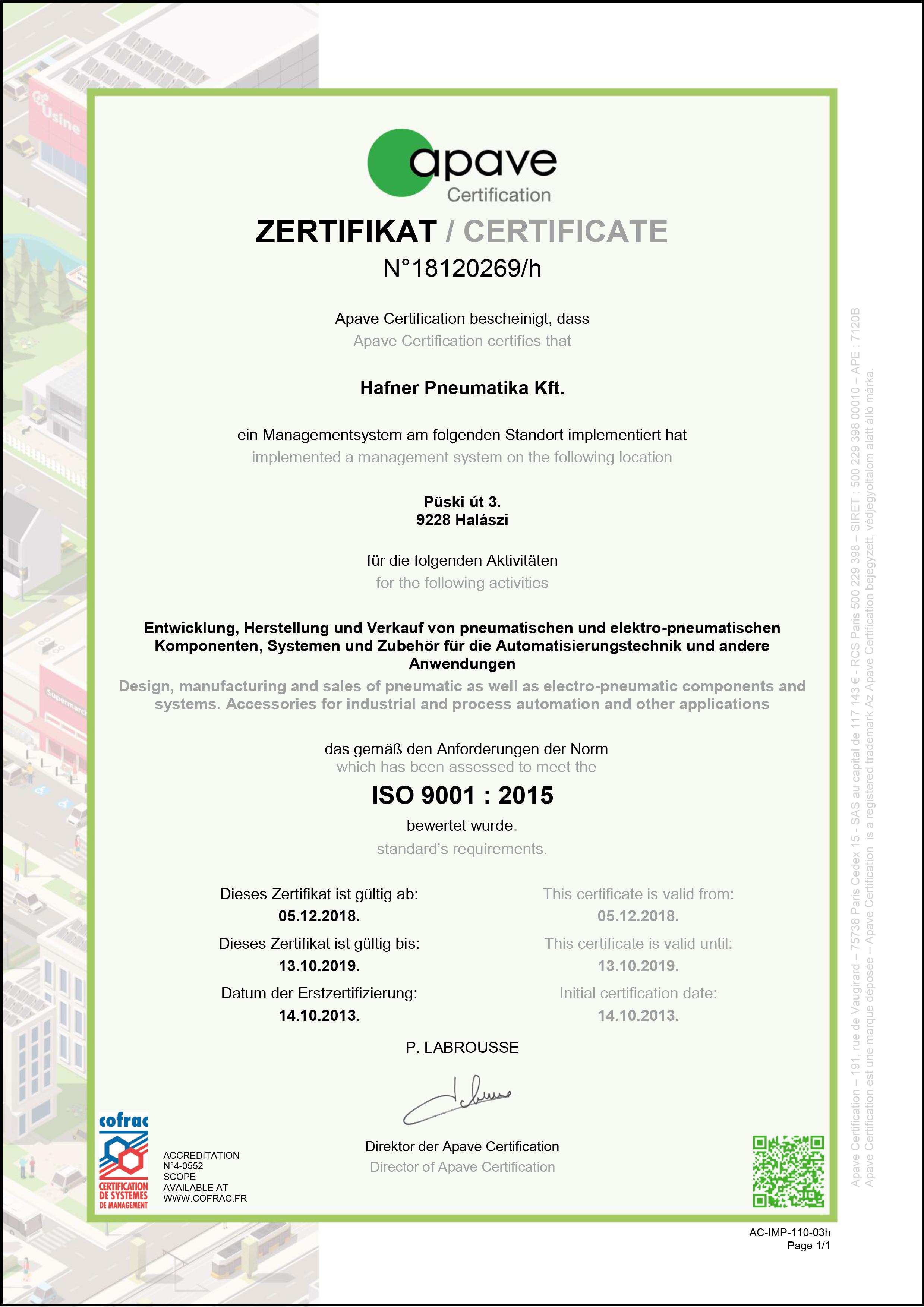 EN ISO 9001:2015 magyar nyelvű tanúsítvány