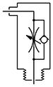 Sarok fojtó-visszacsapó szelep, távozó levegő fojtva - hengerbe